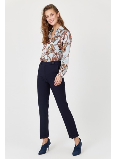 Setre Tarçın Normal Bel Cepli Kumaş Pantolon Lacivert